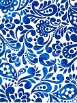 Gift wrap 24: x 100' roll White and blue batik scroll