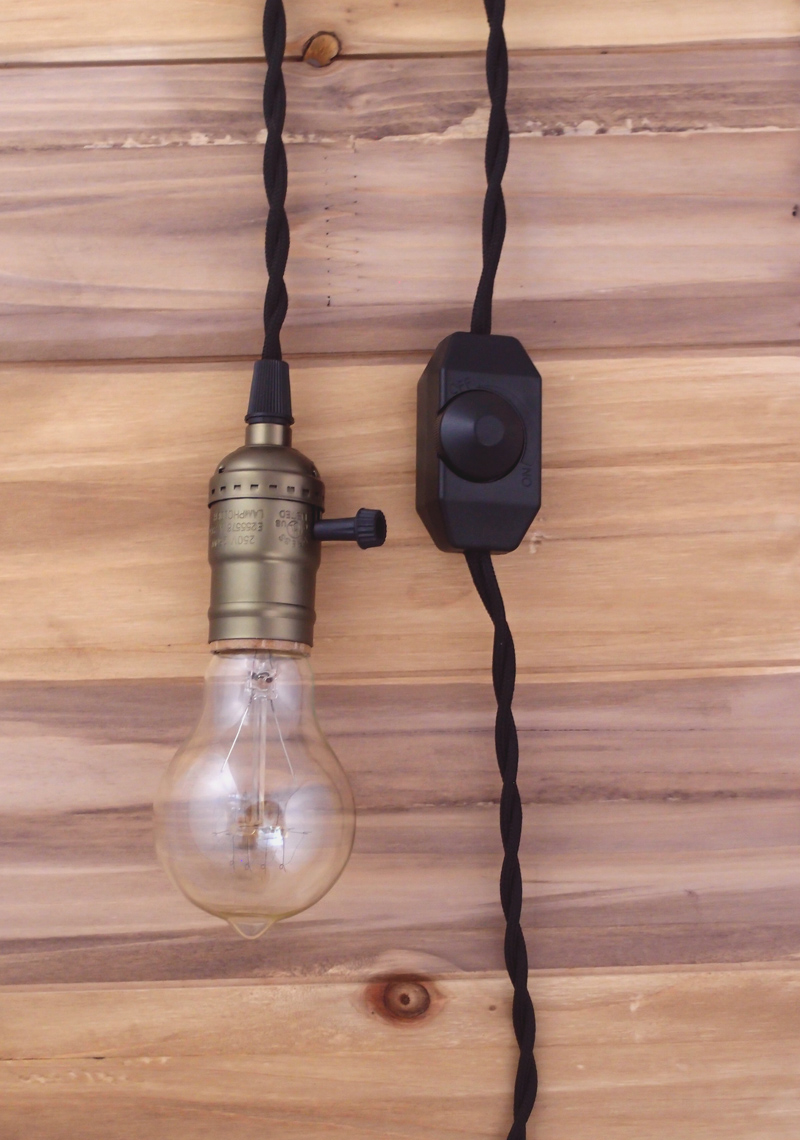 Single COPPER Socket Pendant Light Lamp Cord Kit W/ Dimmer (11FT, UL  Listed, BLACK Cloth Cord)