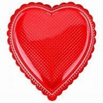 16 oz Clear heart- Red Base - 8-1/2 x 7-5/8 x 7/8