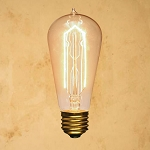 40-Watt Incandescent ST58 Vintage Edison Light Bulb, Hairpin Filament, E26 Medium Base