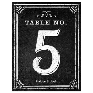 "Chalkboard table numbers 3.75"" x 5""  black/white 12/pk (choose numbers)"