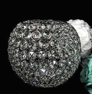 "Large Crystal ball candle holder 10"" diameter"