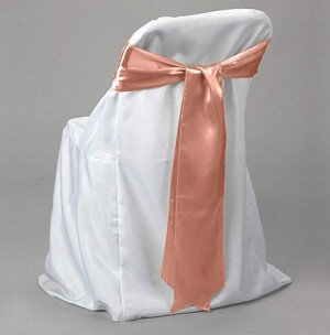 "satin chair bows 6"" x 9 feet CORAL"