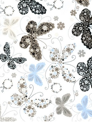 "Gift wrap 24"" x 100' roll silver and black butterflies"