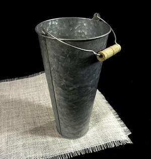 "Galvanized Flower Market Bucket with Handle 9-1/2"" high"